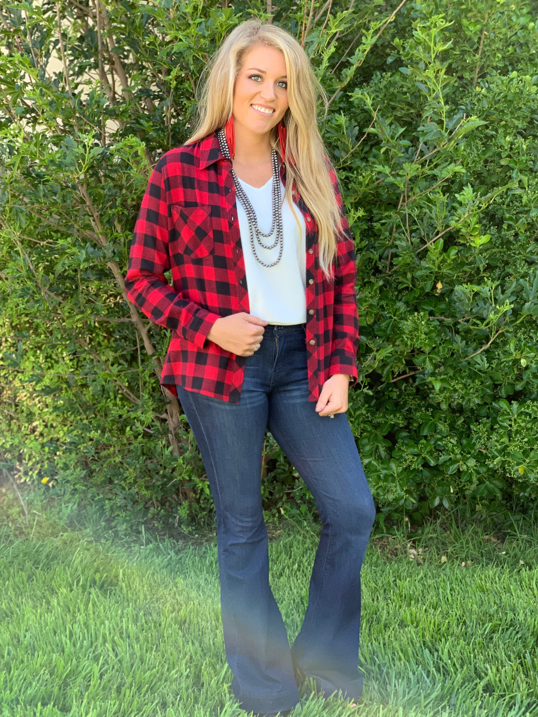 Melissa Black & Red Buffalo Plaid Flannel Shirt