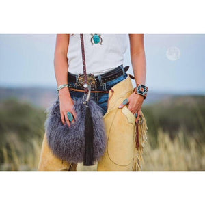 Espuela Grey Woolie Angora Hair & Leather Purse Crossbody