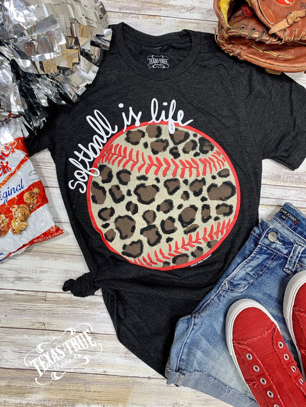 Leopard SOFTBALL Is Life Vintage Black Tee