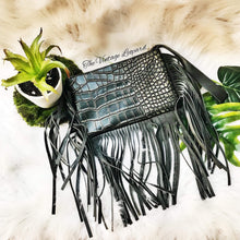 Leather Hair on Hide Brindle Acid Wash Fringe Wristlet