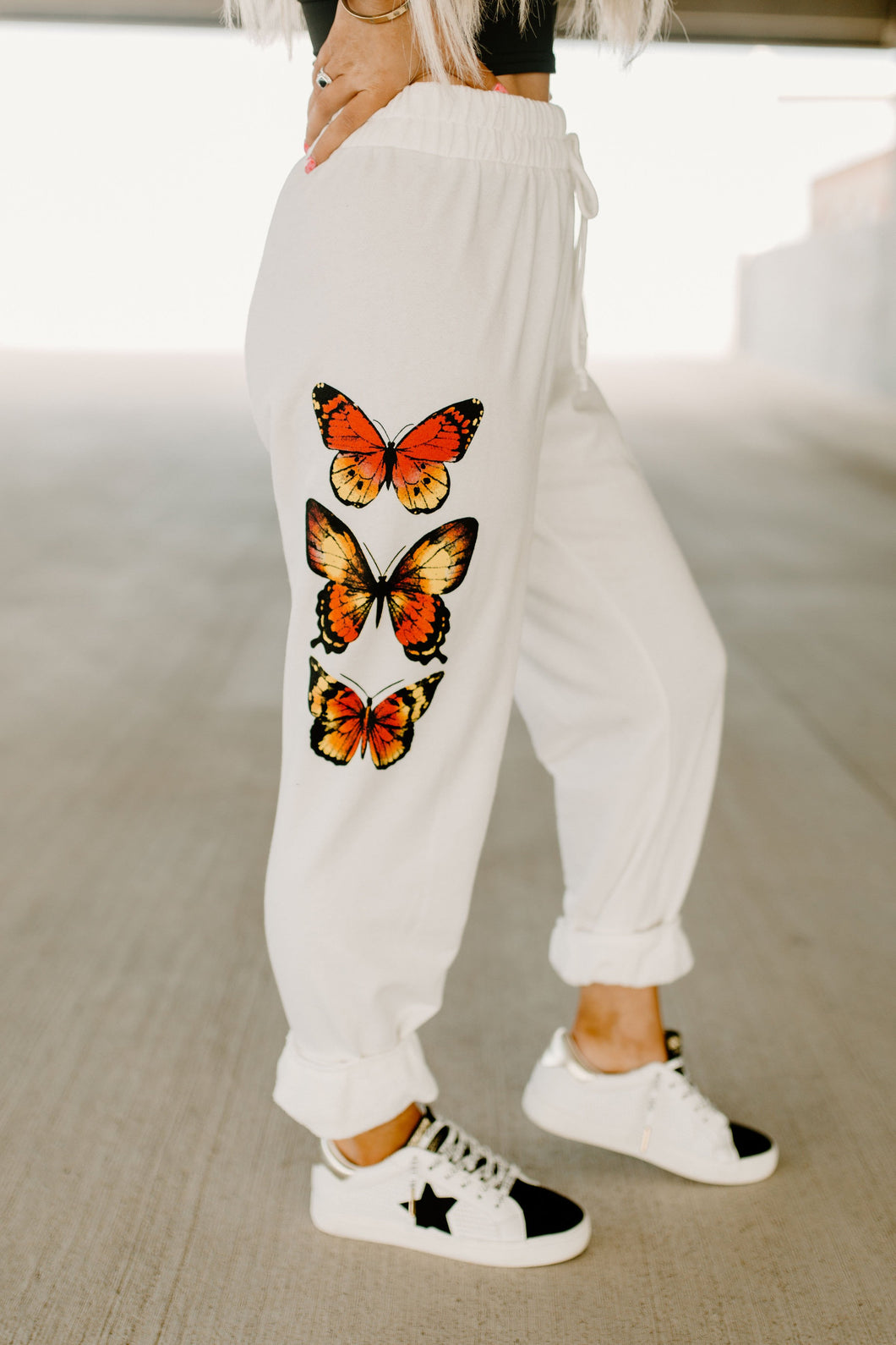 Social Butterfly White Jogger Sweatpants