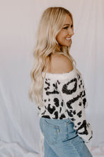 Fuzzy Black & White Leopard OTS Sweater