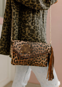 Ava Upcycled Leather Dark Leopard Crossbody