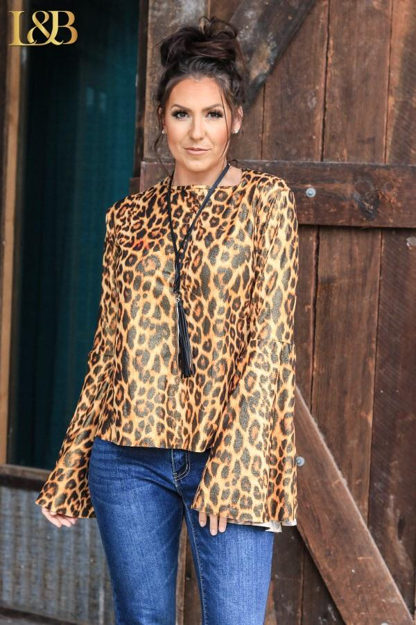 Metallic Amber Leopard Bell Sleeve Top