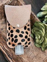 Baby Cheetah Hand Sanitizer Holder Leather Keychain
