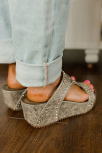 Corky's Funkytime Taupe Stud Wedge