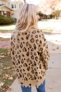 Taupe Tattered Leopard Distressed Sweater