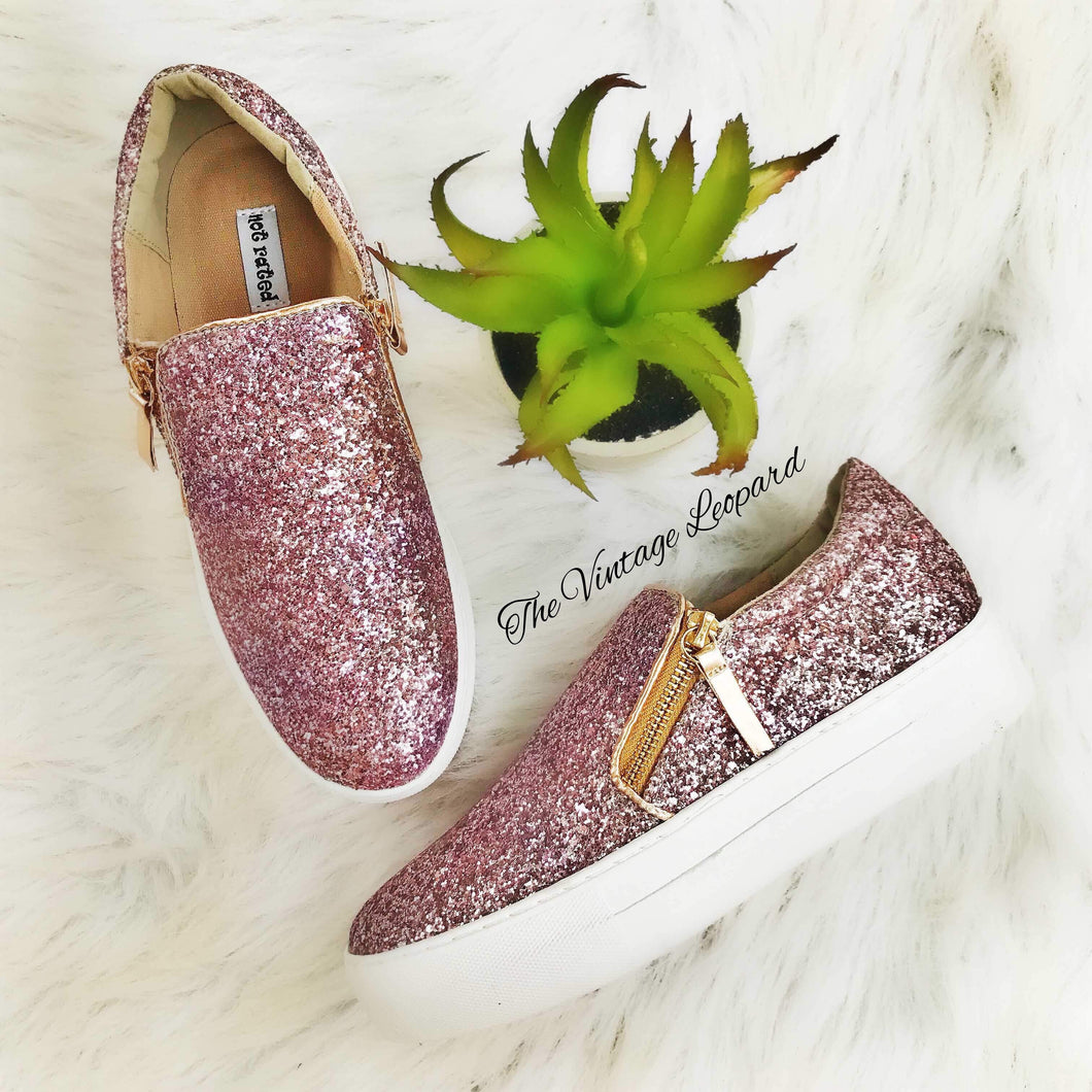 Timothy Rose Gold Sparkle Slip On Sneaker Shoe