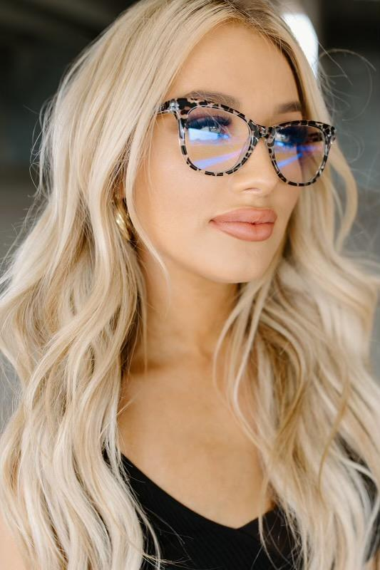 Diff Carina Clear Leopard Blue Light Technology Glasses