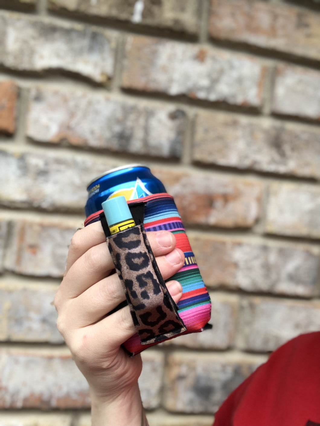 Serape & Leopard Pocket REGULAR CAN Lit Handler Coolie Coolers
