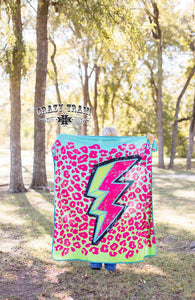 Stormy Brights Leopard & Thunderbolt Throw Blanket