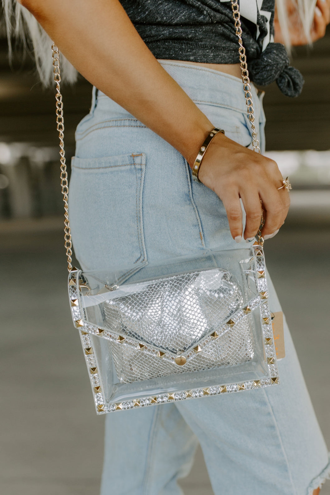 Stadium Lights Studded Clear Clutch - Silver