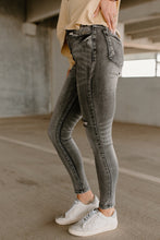 Load image into Gallery viewer, Blair Faded Grey Mid Rise Skinny Jeans