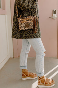 Elsa Upcycled Leather LIGHT Leopard Double Zipper Crossbody