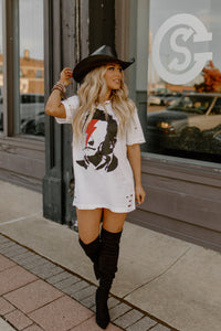 Cash Bowie Distressed White Tee