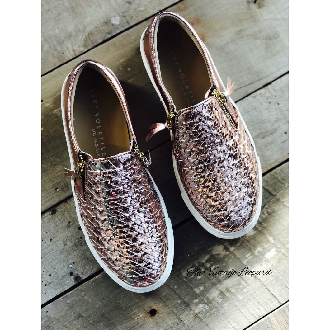Very Volatile Harlee Rose Gold Leather Sneaker
