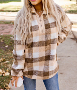 Brown Plaid Sherpa Pullover