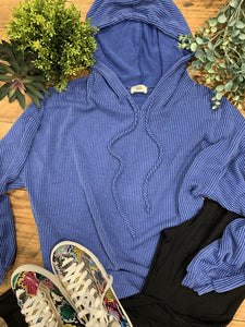 Shelby Wavy Ribbed Royal Blue Hoodie