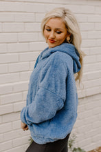 Load image into Gallery viewer, Fuzzy Steel Blue Hoodie Pullover