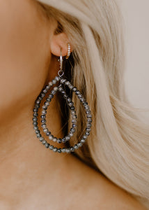 Rare Bird Charcoal Sparkle Hoop Earrings