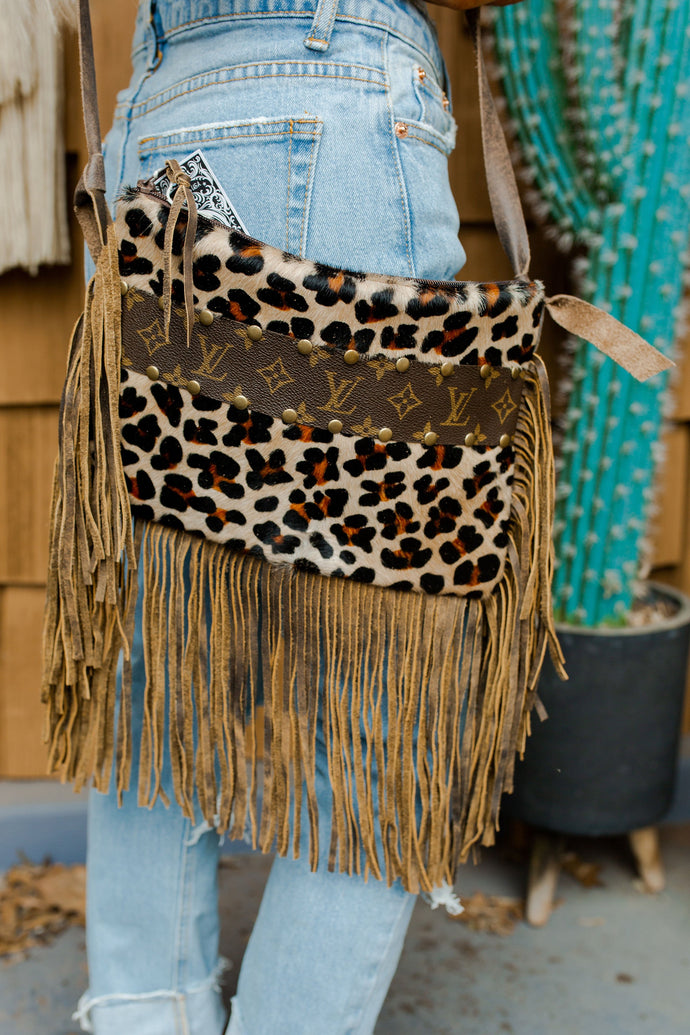 Maxine Upcycled Leather Leopard Fringe Crossbody