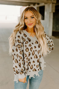 Grey Tattered Leopard Distressed Sweater