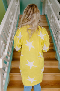 Star Neon Yellow Sweater Cardigan