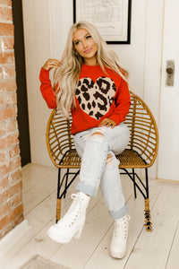 Leopard Heart Cozy Red Sweater