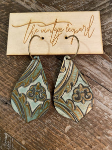 Turquoise Damask Tooled Leather Earrings