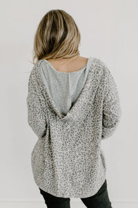 Taupe & Charcoal Brushed Animal Print Hoodie Top