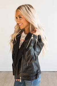 Black Faux Leather Bomber Jacket Coat