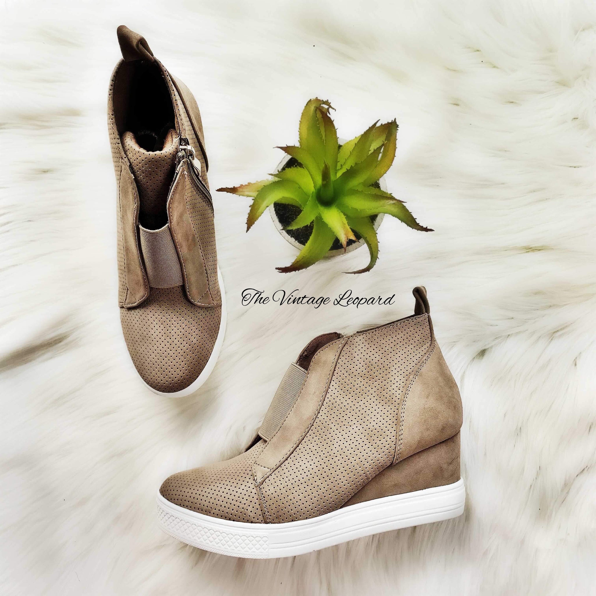 Taupe Zoey Wedge Sneaker Shoe – The