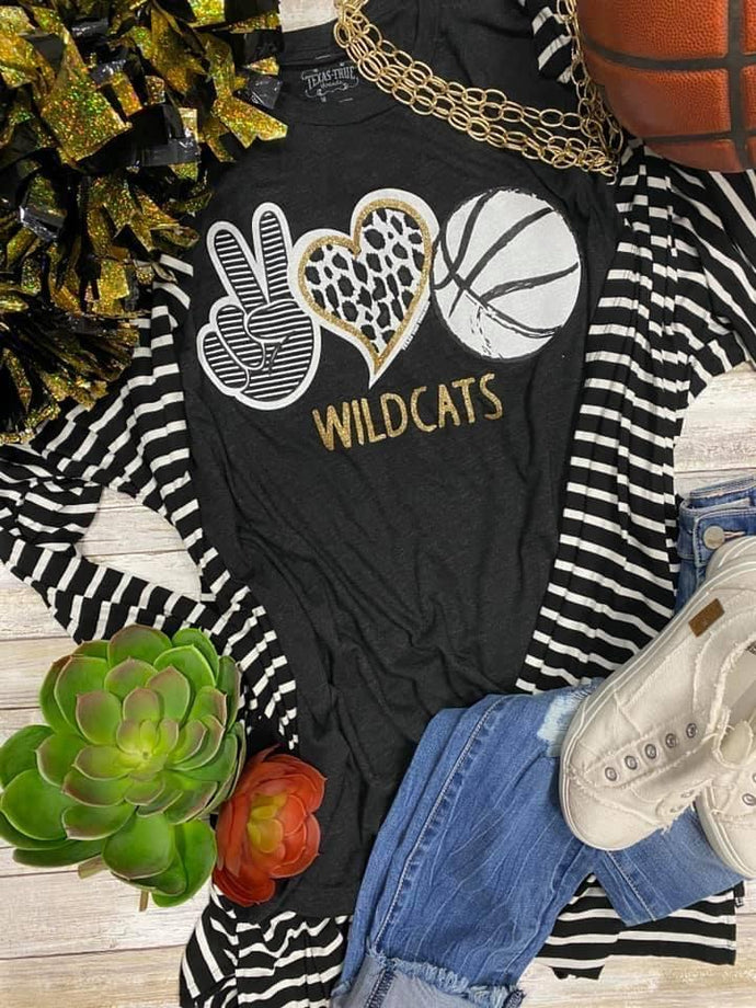 Peace Love Basketball Glitter Wildcats Vintage Black Tee