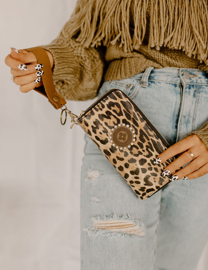 Melania Upcycled LIGHT Leopard Double Zip Wallet Wristlet