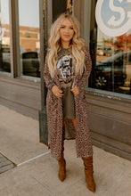 Load image into Gallery viewer, Shimmer Leopard Long Pocket Cardigan