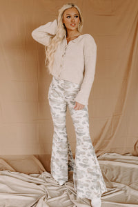 Camo Corduroy Knit Bell Bottoms