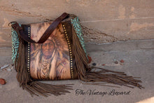 Rosie Big Chief Leather & Fringe Turquoise Handbag
