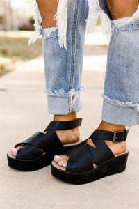 Corky's Marseille Black Cross Strapped Platform Wedge