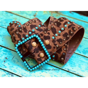 Brown Leopard & Turquoise Bead Leather Belt