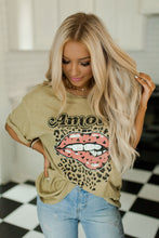 Olive Retro Leopard Amore Tee