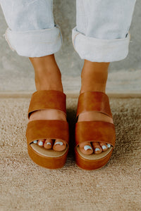 Corky's Shamrock Double Strap Cognac Wedge