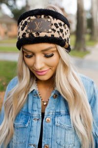 Upcycled LV & Black Leopard CC Headband