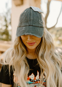 Charcoal Criss Cross Pony & Bun Baseball Cap