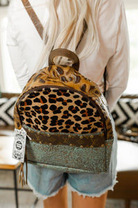 Charlotte Upcycled Leopard & Turquoise Leather Backpack