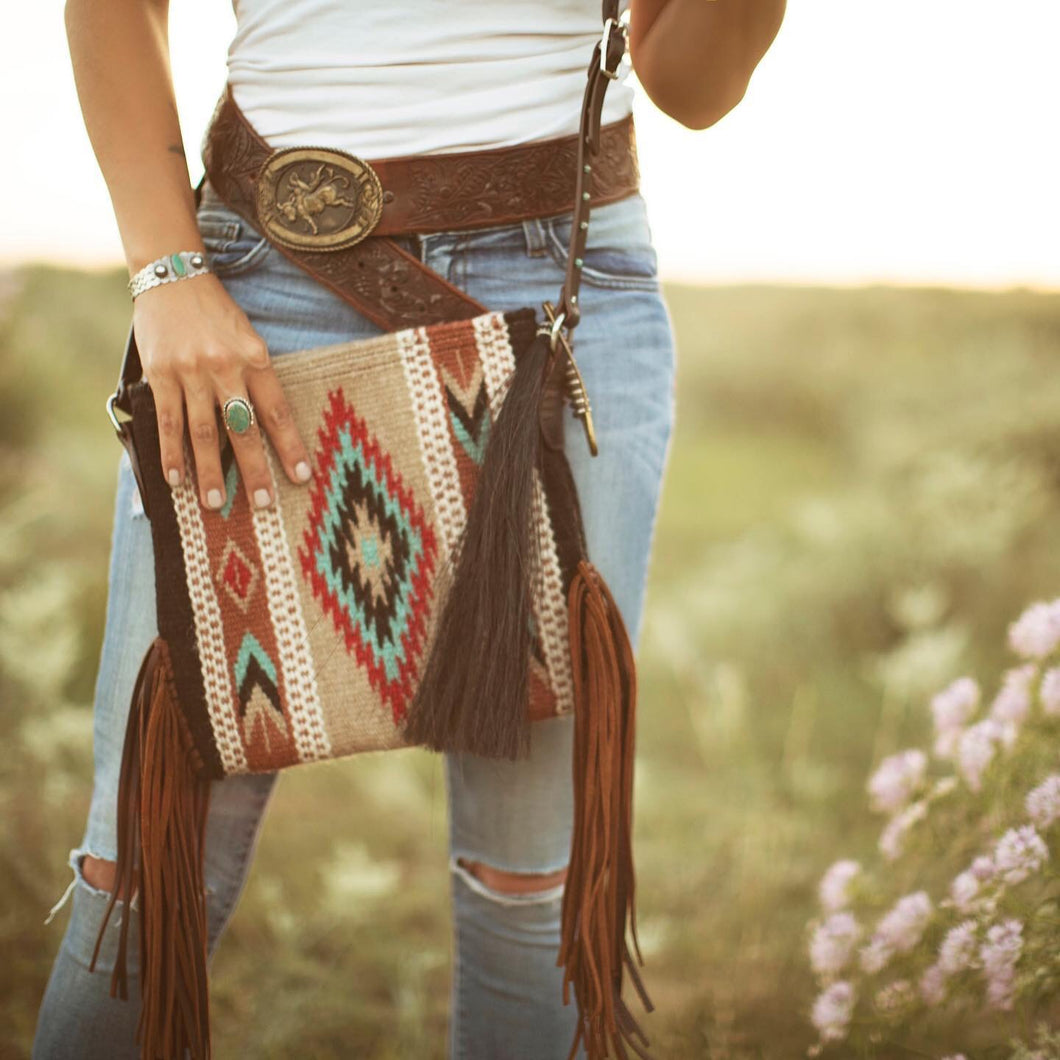 Mini Zia Vintage Saddle Blanket & Leather Fringe Crossbody