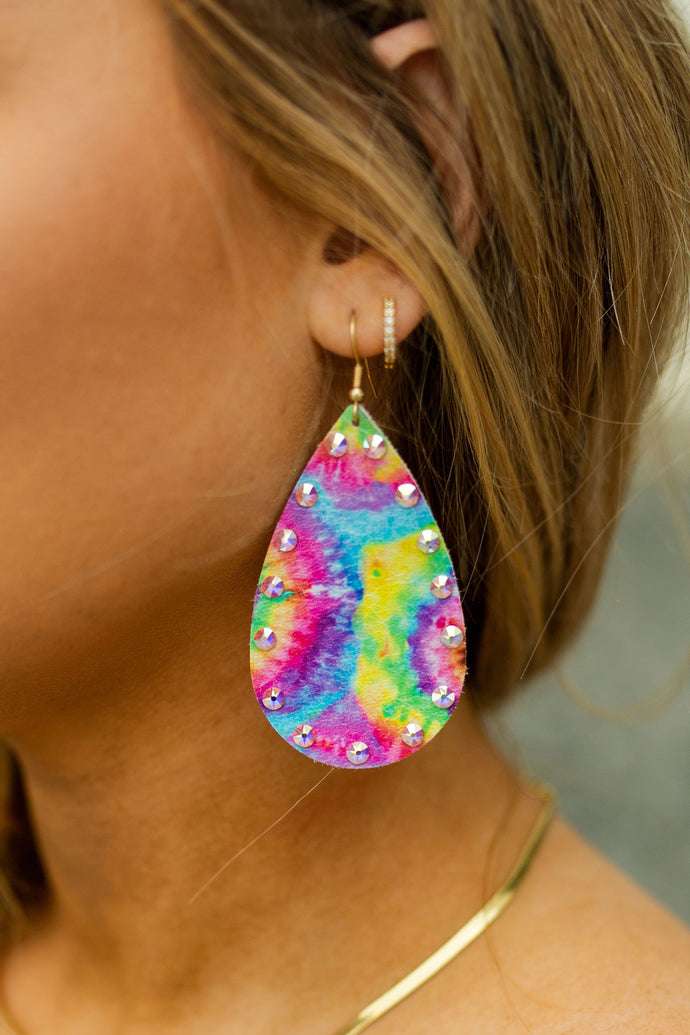 Pink Panache Rainbow Tie Dyed Crystal Leather Earrings