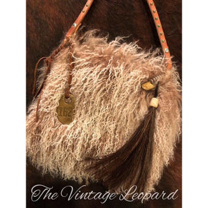 Espuela Woolie Caramel Angora Hair & Leather Purse Crossbody