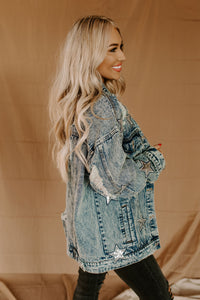 Star Of The Show Distressed Denim Jacket
