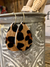 Hair on Hide Leopard Leather Teardrop Earrings