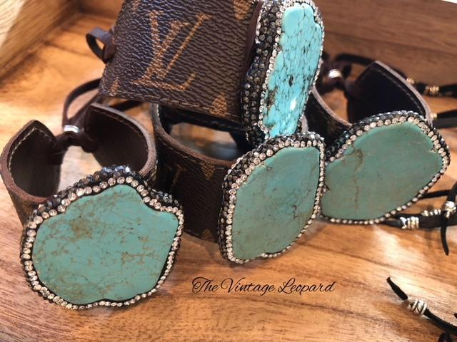 Upcycled Louis Vuitton Turquoise Magnesite Pave Rhinestone